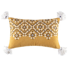 Mustard Tasselled Morocco Cotton Cushion