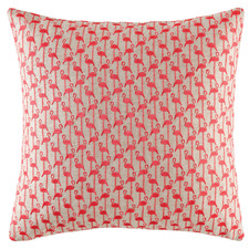 Coral Mini Flamingo Linen-Blend Cushion