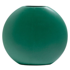 Green Round Flat-Bottom Ceramic Vase