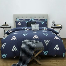 Navy Asta Patterned Quilt Cover Set