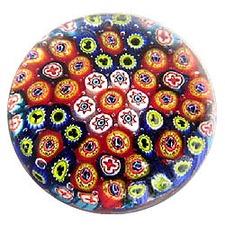 Millefiori Round Glass Paperweight in Orange and Blue