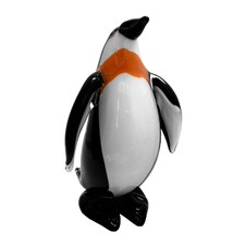 Glass Penguin Figurine Standing Upright in Black and White