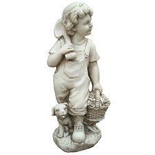 Country Boy Fibrestone Statue