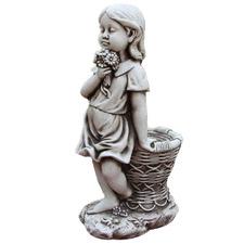 Girl with Flowerpot Fibrestone Statue