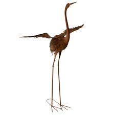 Rustic Crane with Wings Metal Ornament