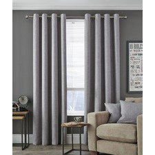 Dove Grey Vermont Eyelet Curtain Set