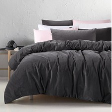 Slate Cotton Velvet Quilt Cover Set