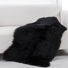 Real Wool Black Skin Rug