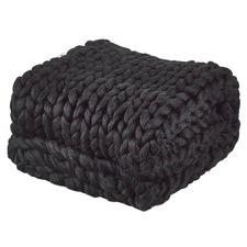 Black Chunky Knit Throw
