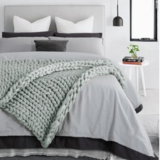 Dove Grey Chunky Knit Throw