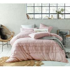 Blush Boho Tassel Single Bed Linen & Cotton Quilt Cover Set