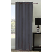 Grey Microfibre Eyelet Curtains Set
