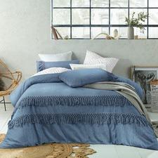 Denim Boho Tassels Linen Blend Quilt Cover Set