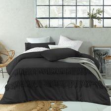 Black Boho Tassels Linen Blend Quilt Cover Set