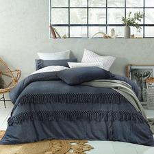 Denim Boho Tassels Linen & Cotton Quilt Cover Set