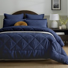 3 Piece Navy Waffle Comforter Set