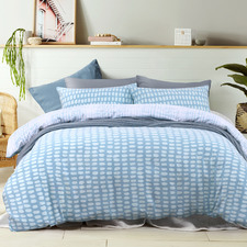 Blue Reversible Cotton Flannelette Quilt Cover Set