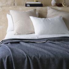 Navy Herringbone Wool Blanket