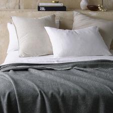 Grey Herringbone Wool Blanket