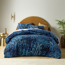 Blue Palm Leopard Cotton Quilt Cover Set