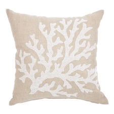 White & Beige Coral Linen Cushion