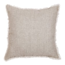 Beige & White Linen Fringed European Cushion
