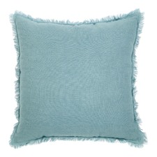 Duck Egg Blue & White Linen Fringed European Cushion