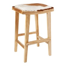 Brown & White Lyon Sponge Cowhide Bar Stool