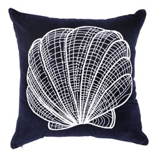 Navy Blue Velvet Sea Shell Cushion