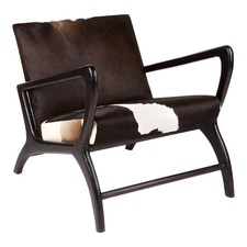 Dark Brown & White Nordic Cowhide Chair