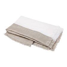 Beige & White Striped Linen Throw
