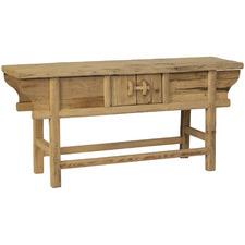 Natural Tibet Elm Wood Console Unit