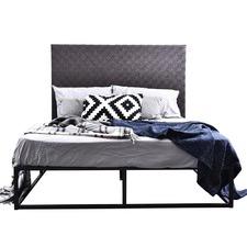 Kian Queen Metal Bed & Faux Leather Weave Bedhead