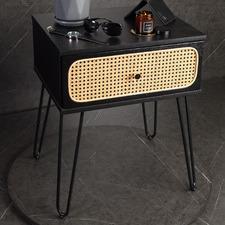Black Ashley Rattan Bedside Table