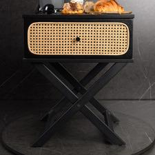 Black Meredith Rattan Bedside Table