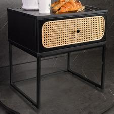 Black Maribeth Rattan Bedside Table