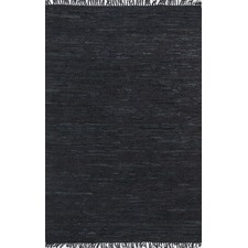 Black Gypsy Hand-Tied Genuine Leather Rug