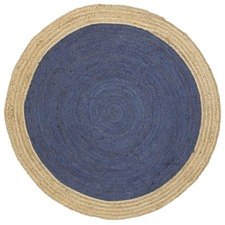 Navy Hampton Braided Round Jute Rug