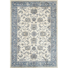 Cream & Blue Atlas Border Rug