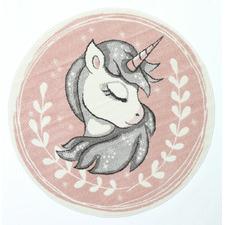 Pink Happy Kids Unicorn Round Rug
