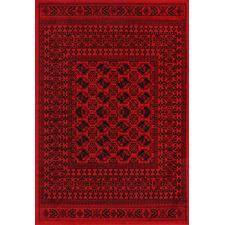 Red & Black Tribute Afghan Inspired Rug