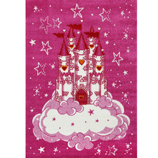 Pink Happy Kids Castle Rug
