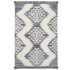 Cream & Grey Mono Tribal Anthracite Rug