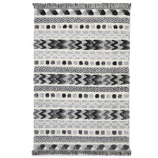 Cream Mono Tribal Carved Anthracite Rug