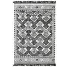Cream Mono Tribal Carved Lines Anthracite Rug