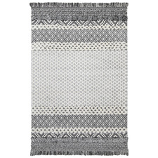 Cream Mono Tribal Edge Anthracite Rug
