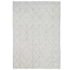 Grey African-Inspired Flat Weave Wool-Blend Rug