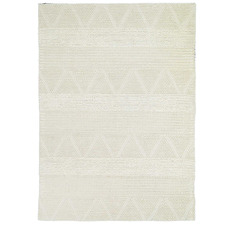 Ivory African-Inspired Flat Weave Wool-Blend Rug