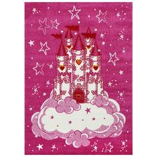 Pink Happy Castle Kids Rug