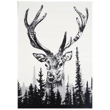 Black & White Iconic Deer Rug